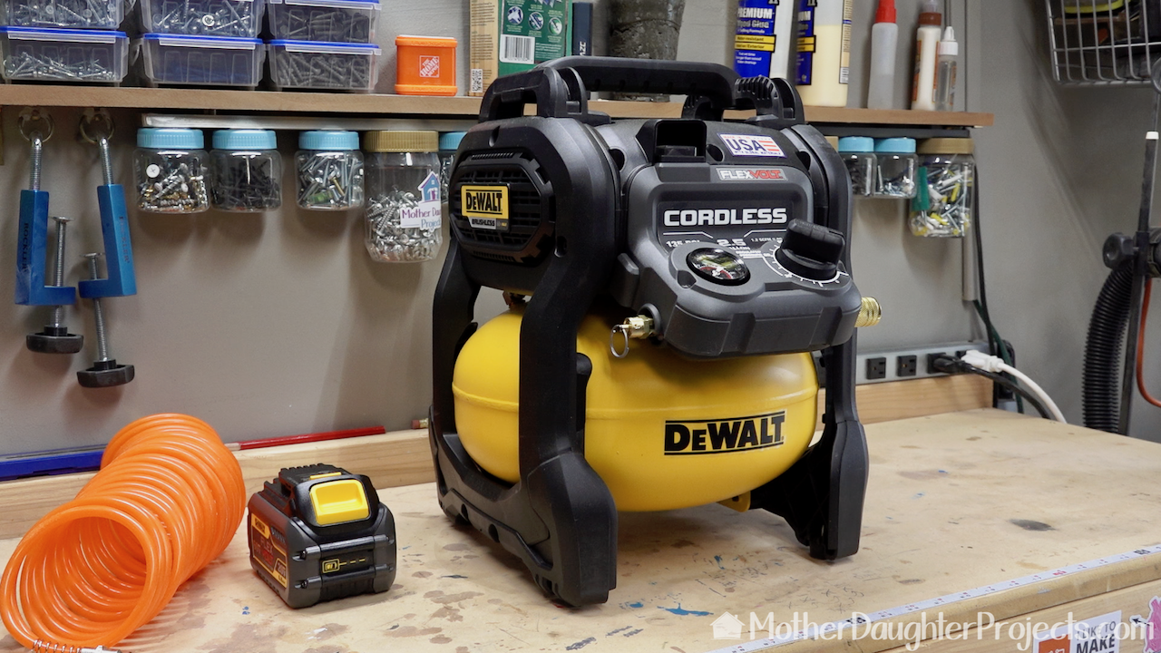 The DeWalt Cordless Compressor.