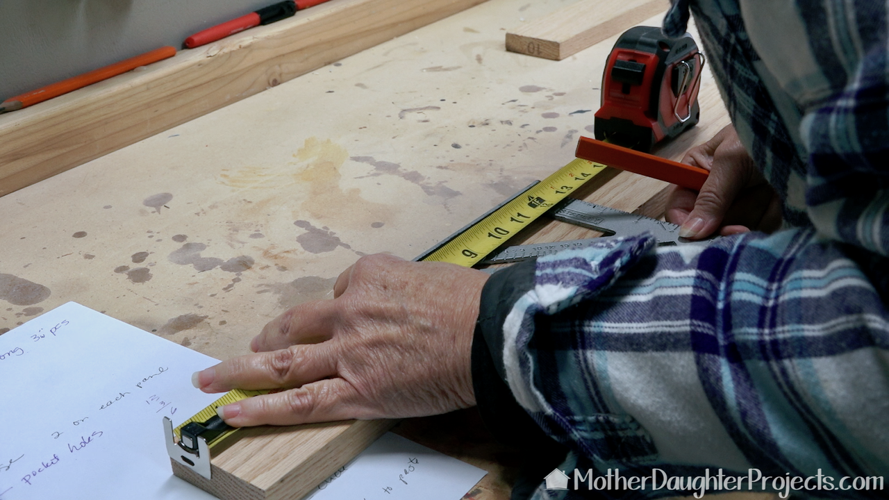We marked the horizontal pieces before we cut them to size.