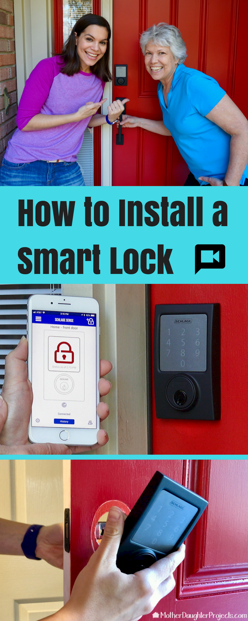 See how easy it is to install a new Schlage sense SMART lock and modern handset to any front door!