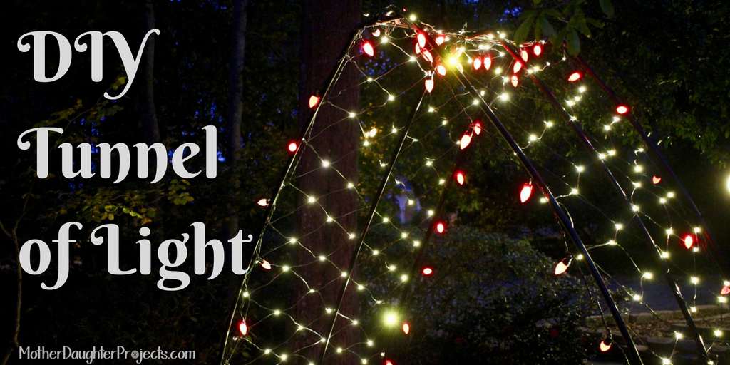 Learn how to use PVC pipe to create a tunnel or arch and decorate with lights! Make it part of your outdoor Christmas lights show! MotherDaughterProjects.com