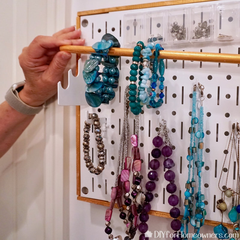 The Wall Control panel is a great way to store and organize jewelry
